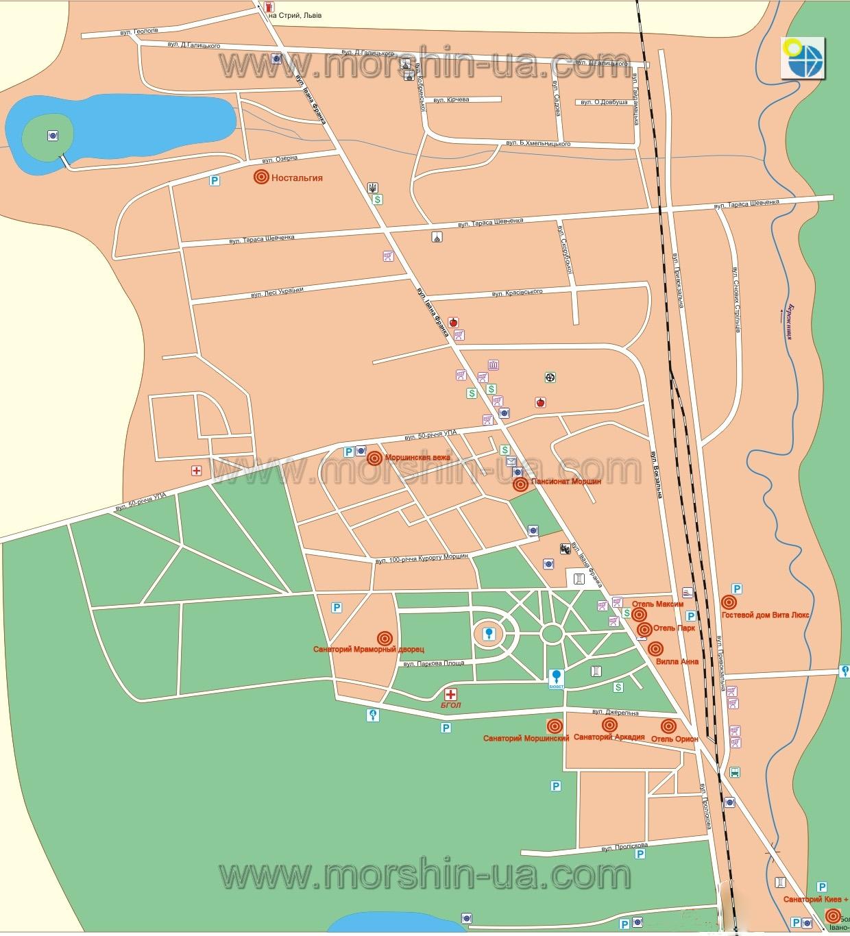 Моршин.Карта.: http://morshin-ua.com/mkarta.html
